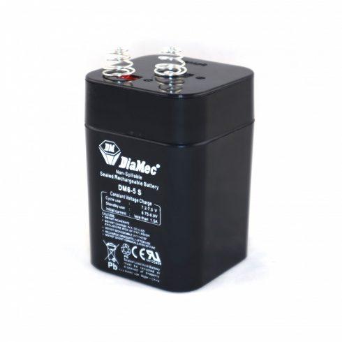 6V-os 5,0 Ah rúgós csatlakozójú zselés akkumulátor
